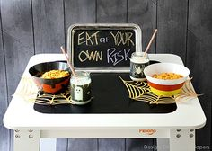 Several tutorials on how to make cute kids halloween table decorations via @Taryn H {Design, Dining + Diapers}