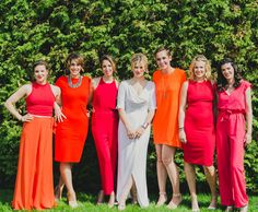 mismatched, yet complimentary bridesmaids. Pants, skirts, dresses = perfection
