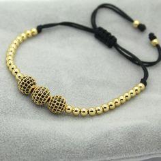 Fashion Men Women Stone 8mm Beads Bracelet,pave Setting Black Cz Crown Charm Weave Braiding Men Macrame Bracelet Bracelets & Bangles