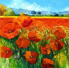 """""""Poppies"""" oil painting by Jean-Marc Janiaczyk Beautiful Paintings, Great Paintings, Canvas Art, Canvas Prints, Art Prints, Landscape Art, Landscape Paintings, Pretty Art, Tag Art"""
