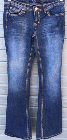 Earl Jean Womens Boot Cut Blue Medium Wash Orange Stitching Size 7 Juniors 30x32 #EarlJean #BootCut