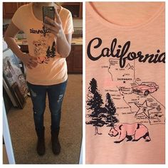 Peach graphic tee Where are my California girls? This is a pretty peach graphic tee.   Size is S, fits M best, imo. Bust 18 inches. Old Navy Tops Tees - Short Sleeve