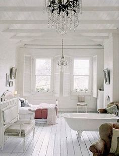 bath tub in bedroom= I want a shed converted to my all white personal room