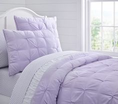 Shop girls comforter sets in cute prints and colors at Pottery Barn Kids. Find girls quilts in style that will match your daughter's personality. Girls Bedspreads, White Bedspreads, Kids Comforters, Lavender Bedding, Lavender Room, Lavender Girls Rooms, Pottery Barn Kids, Dream Bedroom, Girls Bedroom