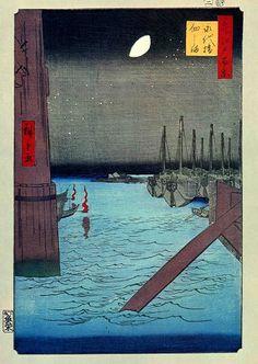 Eitai bridge and Sumida river in Edo (Tokyo), Japan by Hiroshige 広重 永代橋