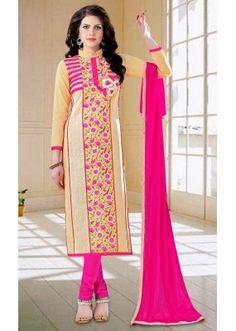 Ethnic Wear Beige & Pink Cotton Salwar Suit - 73594