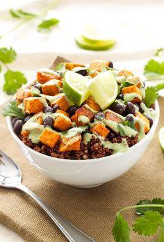 Sweet Potato and Black Bean Quinoa Bowls - a meatless meal with sweet potato, quinoa, black beans and cilantro cream drizzle! by @reciperunner