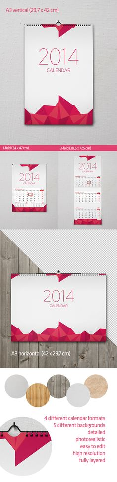 Wall Calendar Mockup by Salamander Studio, via Behance
