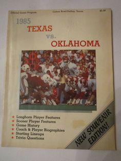 1985 TEXAS VS OKLAHOMA - COTTON BOWL - OFFICIAL FOOTBALL GAME PROGRAM - TUB FP