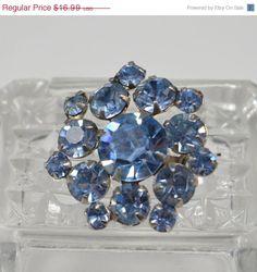 ON SALE Vintage Rhinestone Brooch Light Blue by CrazyAuntDesigns