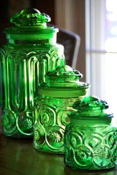 Vintage L.E. Smith Moon and Stars green canister set of 3 #modern house design #home interior #home design| http://wonderfulhomedesigndreamhouse.blogspot.com