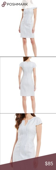 KARL LAGERFELD Elegance @ its best NAVY striped front pockets split neck Dress