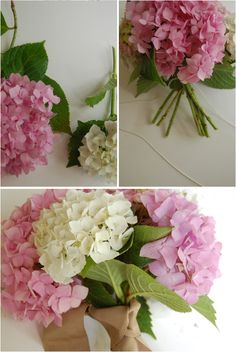 DIY hydrangea bouquet- my bouquet will be blue hydrangeas. They're so full and pretty all by themselves