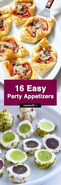 Get the party rolling with these easy and quick appetizers! From Veggie Spring Rolls to Garlic Parmesan Puffs, we have 16 easy appetizer recipes that will help make your party something to remember… #Jamiespartymenus