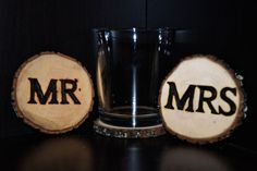 Set of 2 'Mr. & Mrs.' Handcrafted Woodburned Table by ZSDesign