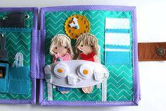 Handmade quiet book Dollhouse, busy book for girl, Развивающая книжка Кукольный домик, столовая