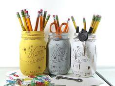 Pen Cup, Rustic Office Decor, Colorful Home Decor, Cute Office Decor, Farmhouse Decor, Pencil Holder, Mason Jar Decor, Distressed Decor
