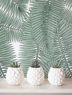 Palm blad behang, verwisselbare behang, Self-adhesive behang, tropisch decor van de muur, Jungle wandbekleding - JW092b