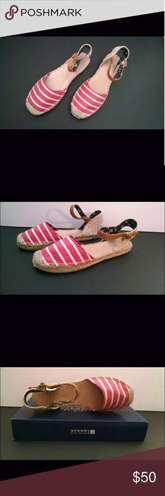 Sperry Top-Sider Hope Red Bretton Stripe Brand new with box! Red and white striped espanrilles Sperry Shoes Espadrilles
