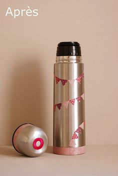 Washi Flask-use this idea for giftwrapping instead of cutting individual mini flags.