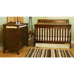 AFG International Furniture Athena Alice Convertible Crib with Toddler Rail and Grace I Changing Table in Mocha - 4689M / 3358M