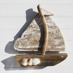 White Sail Driftwood Boat   Wall Hanging   Model Wooden Boat - buy the sea