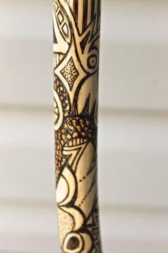 OOAK wood-burned walking cane with by AtkinsGlassandCanes on Etsy