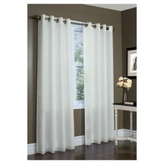 Thermavoile Rhapsody Lined Grommet Top Curtain Panel, Ivory