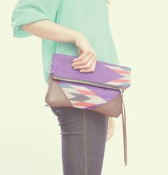 NOMAD Collection  STELLA Leather & Kimono Clutch  by gracedesign, $98.00