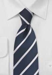 Businesskrawatte Streifendesign zierlich nachtblau perlweiß günstig kaufen