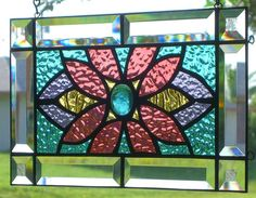 FLOWER POWER STAINED GLASS WINDOW PANEL