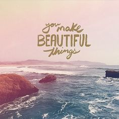"""""""You make beautiful things, you make beautiful things out of dust. You're making me new."""" God can turn ashes into beauty and dust into wonder. Know that your situation is never too far gone, too ugly or too messed up for God. He can make   turn anything into something beautiful, my love. Photo via: @VRSLY"""