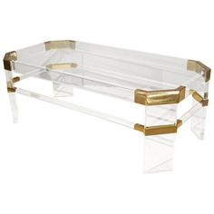 Glass And Lucite Coffee Table By Charles Hollis Jones  USA  1960's  Glamorous lucite, brass and glass top coffee table by Charles Hollis Jones.