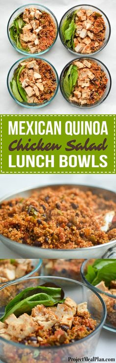 Mexican Quinoa Chicken Salad Lunch Bowls - My meal prep this week consisting of mexi quinoa and baked chicken breast over greens! - ProjectMealPlan.com