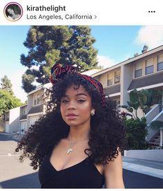 Kira long curly natural hair and head band