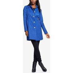 Lauren Ralph Lauren Hooded A-Line Raincoat ($100) ❤ liked on Polyvore featuring outerwear, coats, atomic blue, rain trench coat, mac coat, a line coat, lauren ralph lauren and blue raincoat