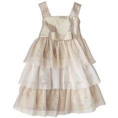 Cherokee Infant Toddler Girls' Dress Gold (365 MXN) ❤ liked on Polyvore featuring baby