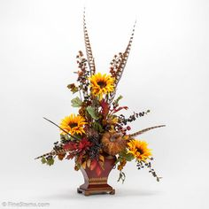 floral silk arrangements   ... - Yellow Sunflower Silk Flower Arrangement in a Red Tin Container
