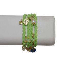 Leather Wrap Bracelet with Charms – Lime #bracelets #fashion #jewelry  9thelm.com
