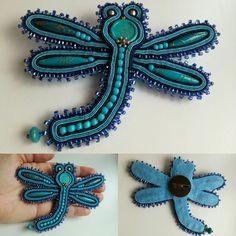 Soutache dragonfly brooch