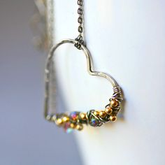 etsy mayahelena Free Form Sterling Wire Wrapped Heart with Gold Filled Accent Beads and Crystal Sterling Silver Neckalce