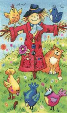 Heritage Crafts Birds of a Feather Cross Stitch Kit - Scarecrow