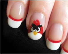 Angry bird nails. Saving this just in case little one asks for it