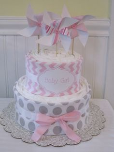 Pinwheel+Diaper+CakeBaby+Girl+Gift+by+LaurasCraft+on+Etsy,+$55.00