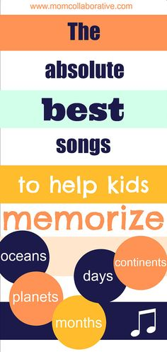 The best 5 songs to help kids memorize the planets, oceans, continents, months, and days of the week! Your kids will have these memorized in no time! Kids Learning Activities, Fun Learning, Teaching Kids, Preschool Music, Preschool At Home, Transition Songs, Music Education, Music Class, First Grade Classroom