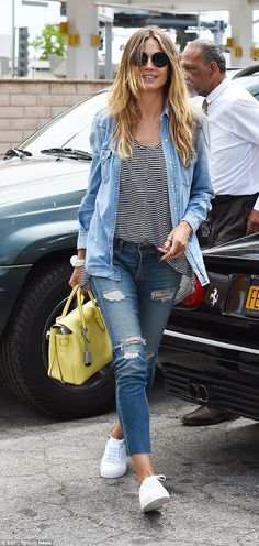 On home soil: By Tuesday it was back to reality for Heidi Klum as she ran errands around L...