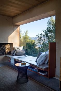 sweet large window built in seating and wood