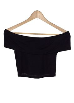 off-the shoulder neckline crop top black color made in USA