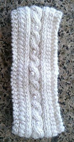 Winter Cabled Headband with Pearl Button Accents - Free Pattern