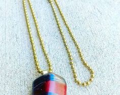 Red Tiger's Eye Necklace with Brass Ball Chain.